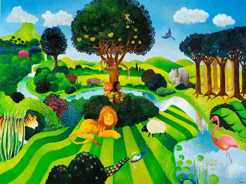 Bereishit, Genesis, The Garden of Eden with Adam and Eve. Naive painting showing Adam and Eve in an idyllic, manicured garden, surrounded by friendly animals.