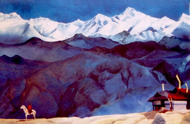 Mountain landscape painting; Remember (after Nicholas Roerich)