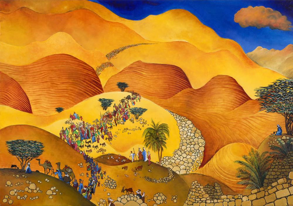 Naive Jewish art: original painting: The people of Israel are entering the Promised Land, the land of milk and honey, over a sea of bright, orange-gold desert hills and boulders.