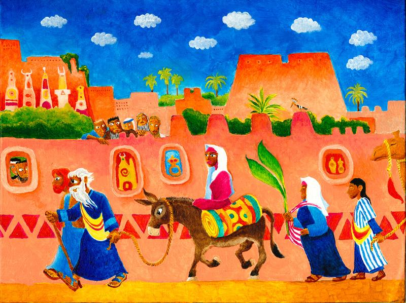 Bible illustration: Parshat Lech Lecha. Avram, Sarai and Lot set out for the Promised Land.
