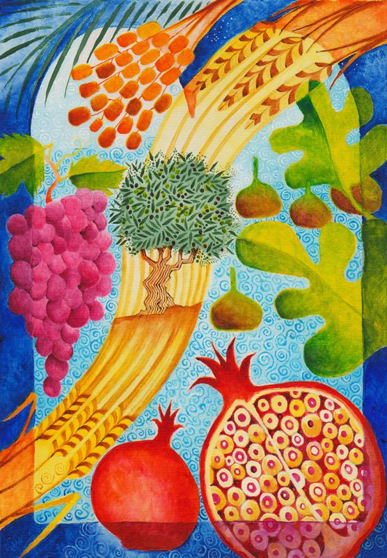 The seven species: Parshat Ekev: Torah art; Bible art