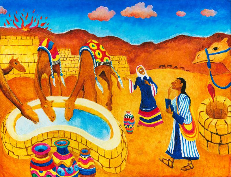 Abraham's servant, Eliezer, meets Rebecca at the well.