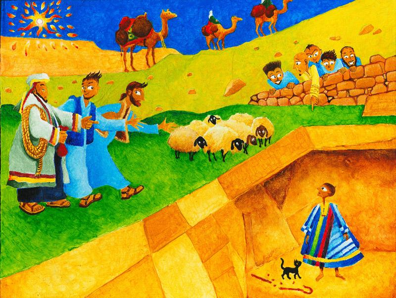 Joseph is in the pit, wearing his multi-coloured cloak. His brothers are selling him to a passing merchant. Hapless sheep graze, while Joseph's remaining brothers look on from behind a stone wall.
