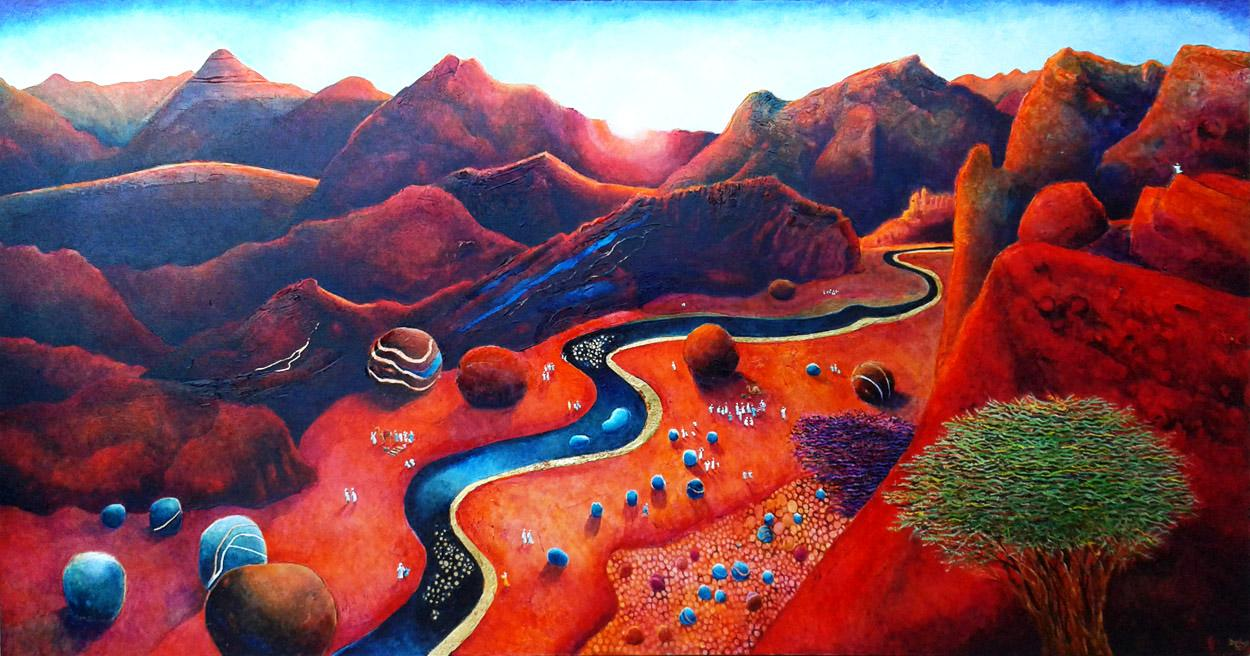 landscape painting with desert valley at dawn. Pilgrimage to holy river. Twelve tribes. Raanana artist.