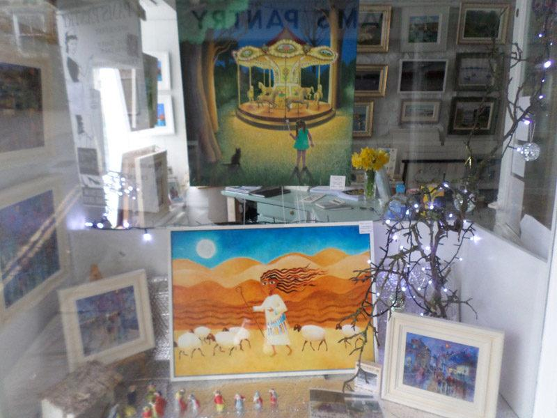 British naive art. Shepherdess painting in Little Picture Gallery, Mousehole.