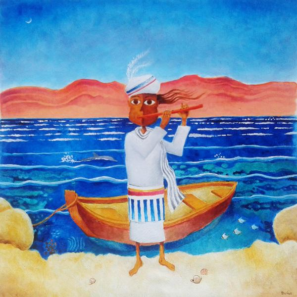 Contemporary naive Israeli art: Israeli naive art: A boy, a prince, a minstrel, plays his flute on the shores of the desert sea, the Red Sea, while fish swim in colourful coral, a dolphin glides past, and the prince's small boat floats on the crystal-clear water.