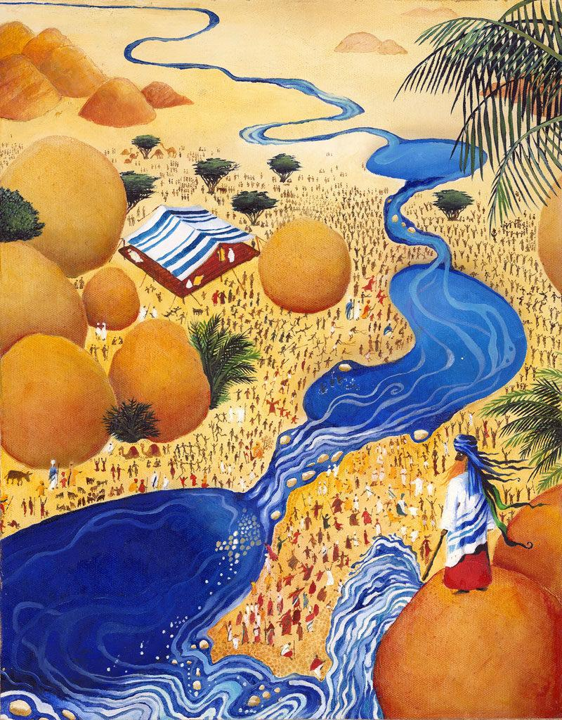 Book of Numbers - Parshat Chukat - Moses has just hit the rock, and water gushes out, creating beautiful pools in the parched desert. The People celebrate below.