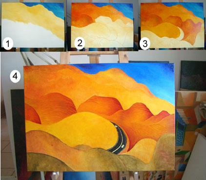 "Jewish art original painting: painting process photos, showing the development of the artwork ""Entering the Promised Land"". Originally a view of the Judaean desert."