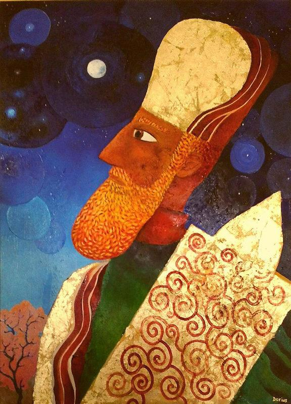 Judaic art: A High Priest of the Second Temple period holding a Sefer Torah, contemplating the moon.