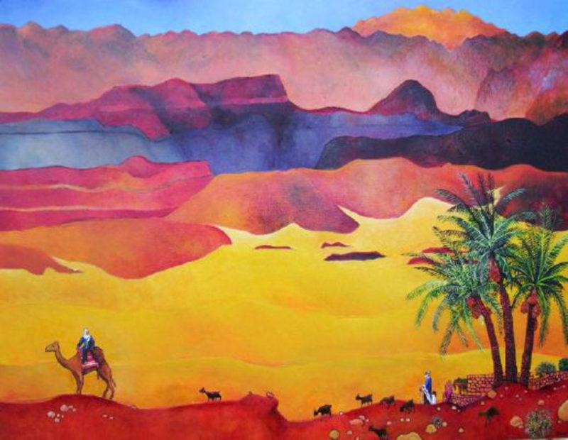 Israel landscape painting. Zachor (Remember) - a leavetaking. Against a dramatic yellow-red desert backdrop, a solitary figure on a camel is about to depart. He looks back at an elder, possibly his father or his Teacher.