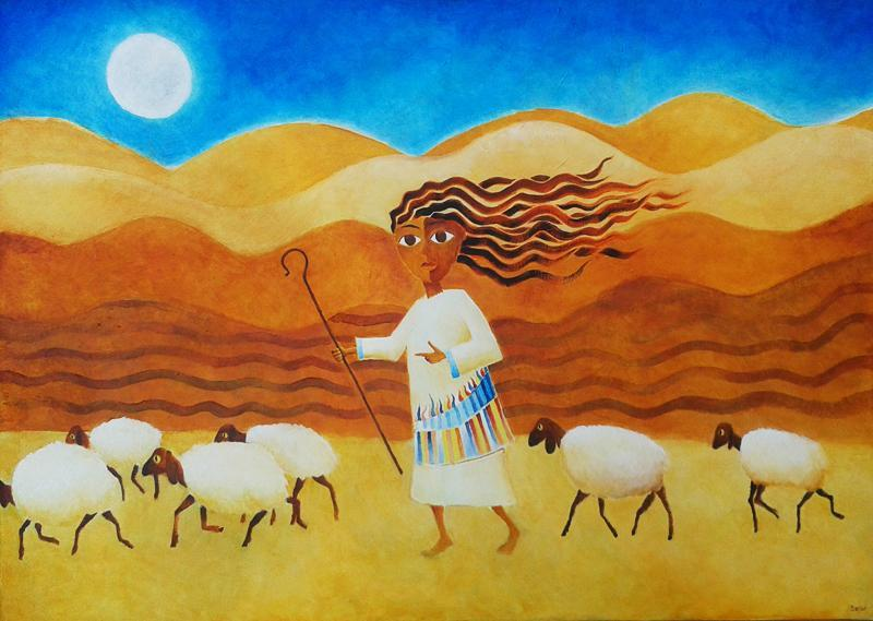 Naive art painting showing a shepherdess in the desert, leading her sheep by moonlight.
